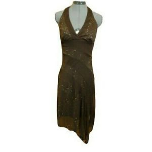 BCX Formal Party Dress S Brown Gold Halter Sexy!